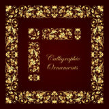 Golden decorative calligraphic ornaments, corners, borders and frames for page decoration and design. Vector set of golden calligraphic elements for design Stock Images