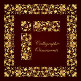 Golden decorative calligraphic ornaments, corners, borders and frames for page decoration and design Stock Image