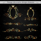 Golden decorative design elements. Vector. Royalty Free Stock Photo
