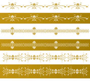 Golden decorative floral borders Royalty Free Stock Photo
