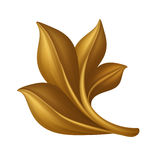 Golden decorative floral leaves clip art isolated, design element, antique decor Royalty Free Stock Photo