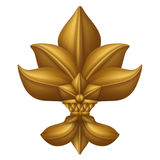 Golden decorative floral leaves clip art isolated, design element, antique decor Stock Photos