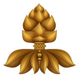 Golden decorative floral leaves clip art isolated, design element, antique decor Stock Images