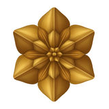 Golden decorative flower clip art isolated, design element, antique decor Royalty Free Stock Photos