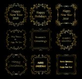 Golden decorative frames with christmas greetings - vector set. Golden decorative frames with christmas greetings - vector  set Vector Illustration