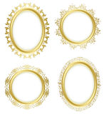 Golden decorative frames with flora and notes Stock Images
