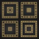 Golden decorative frames set. Vector design templates. Creative intricate borders Royalty Free Stock Photos