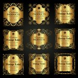 Collection of luxury ornamental gold label in vintage style Stock Images