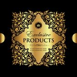 Luxury ornamental gold decorative label for design royalty free stock photo