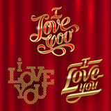 Golden decorative lettering - I Love You Royalty Free Stock Photo
