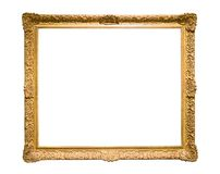 Golden decorative picture frame isolated on white stock photography
