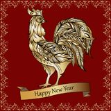 Golden decorative rooster on a red background. Happy New Year. stock illustration
