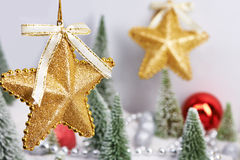 Golden decorative stars as Christmas toys Stock Image
