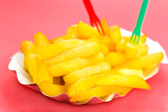 Golden,deep fried - french fries.close up Stock Photography