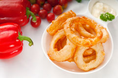 Golden deep fried onion rings Royalty Free Stock Photos