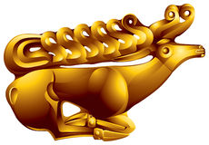 Golden deer. The Scythian gold jewelry found during excavation of Scythian barrows. There is in a gold pantry of a museum a Hermitage in St.-Petersburg Stock Photo