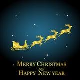 Golden deer with sleigh Stock Photo