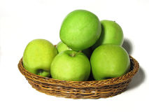 Golden Delicious Apples. In wicker basket Stock Image