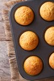 Golden delicious muffins in baking dish vertical top view Stock Photos