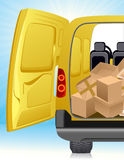 Golden delivery minibus. Illustration, AI file included Royalty Free Stock Photography