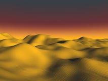 Golden Desert. Golden dunes of fine sand glow under an orange sunset Stock Photos