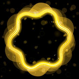 Golden Design Border with Sparkles. And Swirls Royalty Free Stock Photos