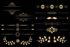 Golden design elements with gradient Stock Photo