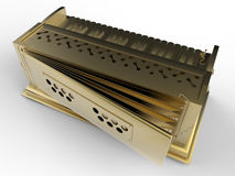 Golden detailed harmonium. 3D render illustration of a golden detailed harmonium back view. The object is isolated on a white background with shadows Royalty Free Stock Photos