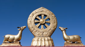 Golden Dharma Wheel Stock Photography