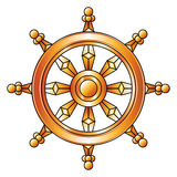 Golden Dharma wheel. Buddhism religion symbol. Royalty Free Stock Images