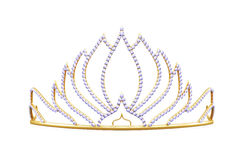 Golden diadem  on white background. 3d rendering Royalty Free Stock Image