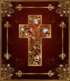 Golden diamond easter cross Stock Photo