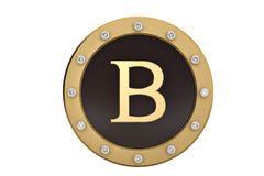 Golden and diamond framed with alphabet B on white background.3D. Illustration Royalty Free Stock Photography