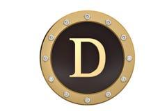 Golden and diamond framed with alphabet D on white background.3D. Illustration Stock Image