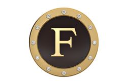 Golden and diamond framed with alphabet F on white background.3D. Illustration Stock Photos