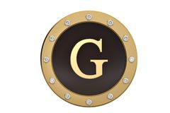 Golden and diamond framed with alphabet G on white background.3D. Illustration Royalty Free Stock Photography