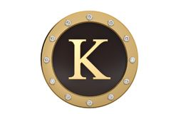 Golden and diamond framed with alphabet K on white background.3D. Illustration Stock Photo