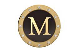 Golden and diamond framed with alphabet M on white background.3D. Illustration Stock Images