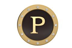 Golden and diamond framed with alphabet P on white background.3D. Illustration Stock Photography