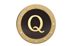 Golden and diamond framed with alphabet Q on white background.3D. Illustration Stock Images