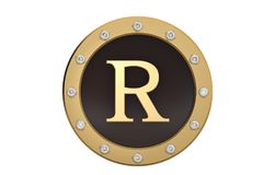 Golden and diamond framed with alphabet R on white background.3D. Illustration Royalty Free Stock Image