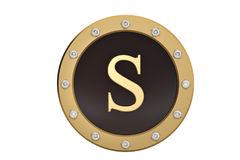 Golden and diamond framed with alphabet S on white background.3D. Illustration Stock Photo