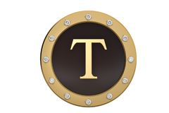 Golden and diamond framed with alphabet T on white background.3D. Illustration Stock Photography