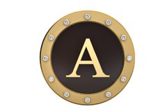 Golden and diamond framed with alphabet A on white background.3D. Illustration Royalty Free Stock Photos