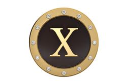 Golden and diamond framed with alphabet X on white background.3D. Illustration Royalty Free Stock Photography