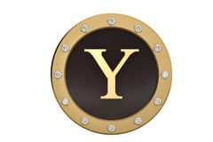 Golden and diamond framed with alphabet Y on white background.3D. Illustration Royalty Free Stock Photo