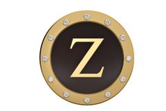 Golden and diamond framed with alphabet Z on white background.3D. Illustration Royalty Free Stock Image
