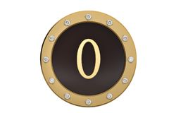 Golden and diamond framed with number 0 on white background.3D i. Llustration Royalty Free Stock Images