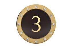 Golden and diamond framed with number 3 on white background.3D i. Llustration Stock Photos