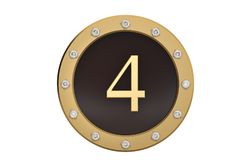 Golden and diamond framed with number 4 on white background.3D i. Llustration Stock Photo